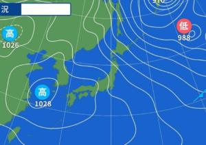 天気予報図をじっくり見てびっくり☆